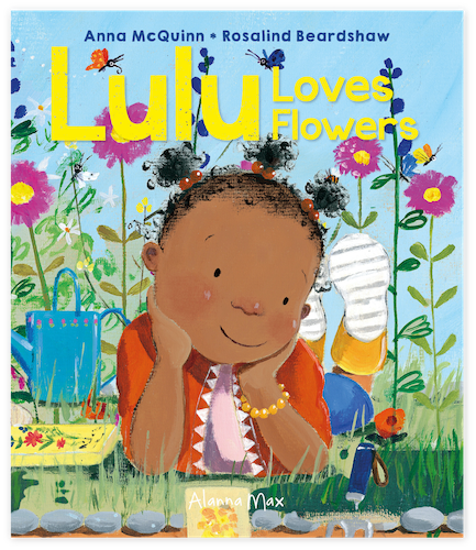 Lulu Loves Flowers Cover for Draw and colouring-in sheet.